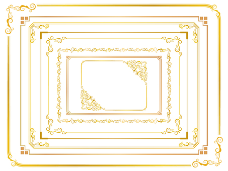 Simple gold decorative frame set 1