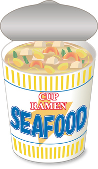 Cup noodle seafood _ lid opening