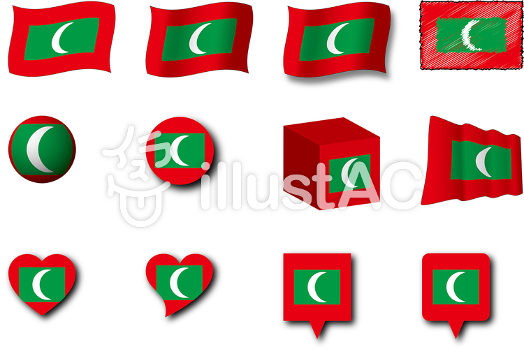 モルディブの国旗のイラスト