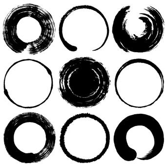 Calligraphy circle brush illustration