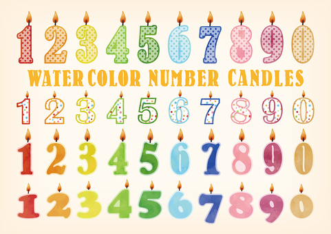 Watercolor touch number candle