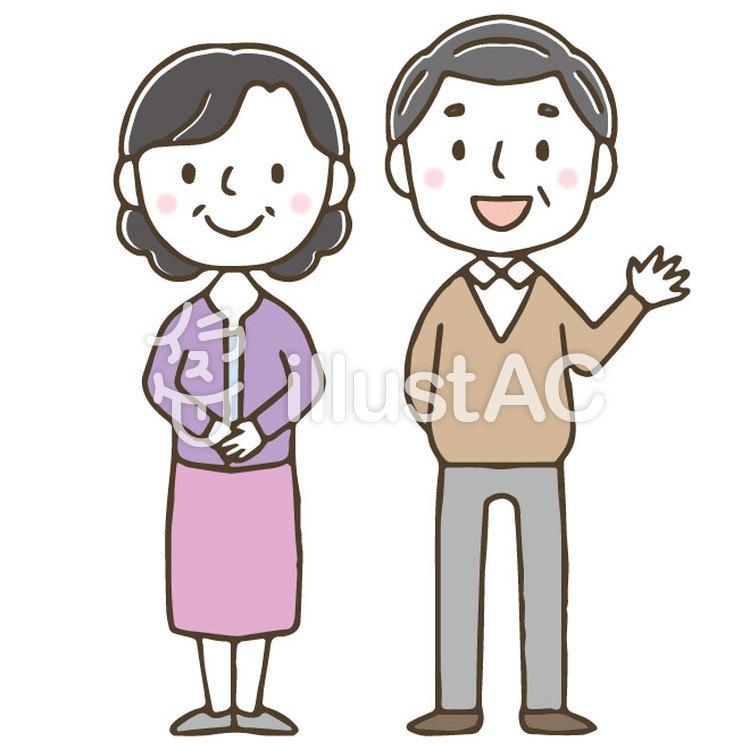 かわいい高齢夫婦老人手描きイラスト No 1481840無料イラストなら