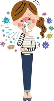 つらい咳 発熱インフルエンザ風邪女性全身