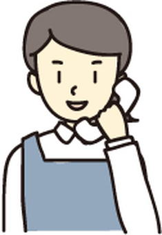 Woman in apron calling