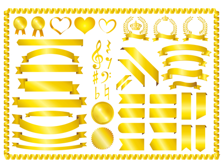 Gold Ribbon Set Material Collection Gold Frame