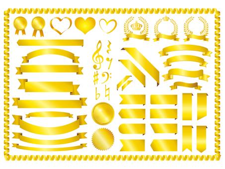 Conjunto de cinta dorada Colección de material Marco dorado