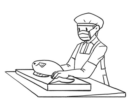 [Black and white] Fish processing person [Line drawing]