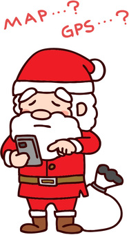 Santa who gets lost and looks up on smartphone