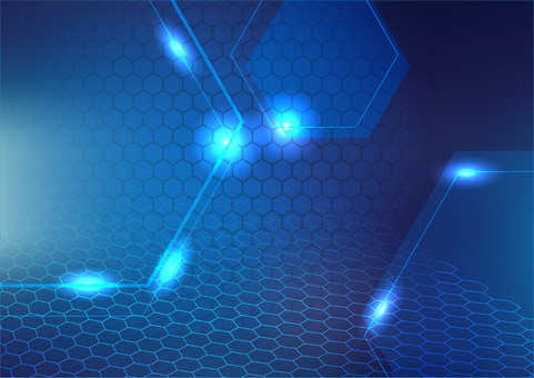 Blue hexagon and light abstract background texture material