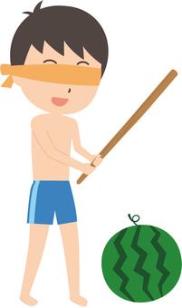 Men's elementary school student   swimming in bath   swimsuit   watermelon split