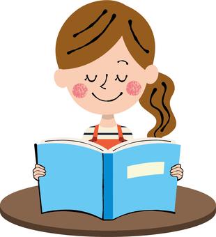 Reading book Blue color female apron machine Brown