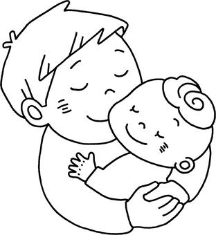 父親,擁抱,嬰兒
