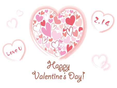 ピンクのハートのバレンタインイラスト素材