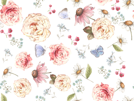 Background 4a - Classic roses and small flower background