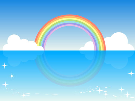 Rainbow and sea - Horizontal size