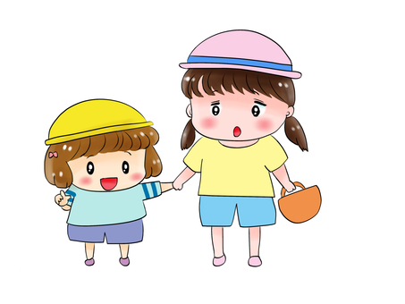 Two girls holding hands and pointing fingers