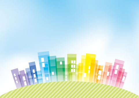 Streetscape and blue sky background material