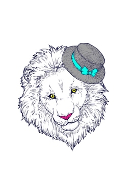 Lion in hat