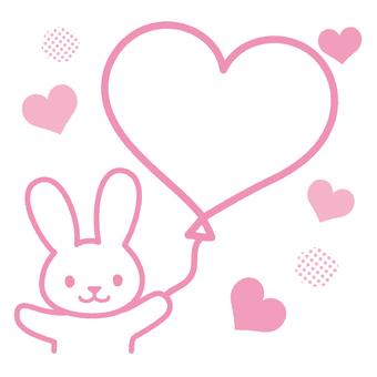 Heart balloons and rabbits