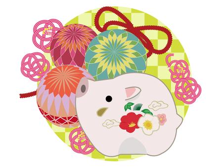 手毬とイノシシの飾り