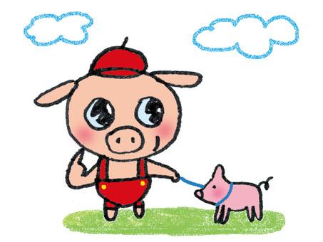 Little pig who keeps a pig