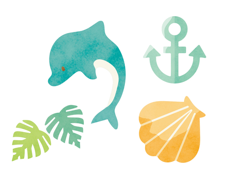 Watercolor-style summer and sea motif set