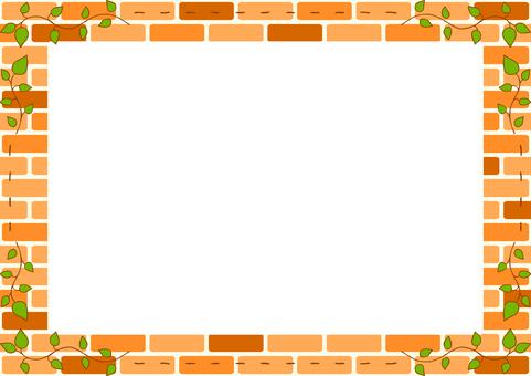 Leaf embroidery frame brick background
