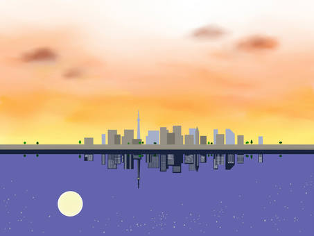 Sunset in the city and night sky 2
