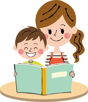 Parent-child boy picture book desk light brown smile