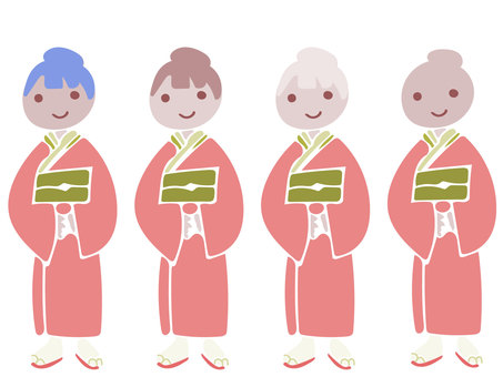 Kimono Women Pink Whole body