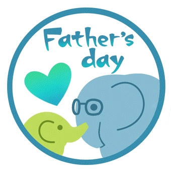 Father's day elephant parent and child