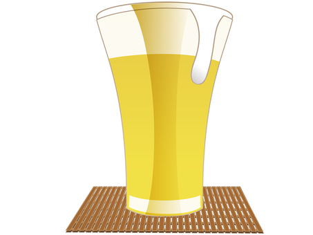 Beer glass for summer with wooden coaster