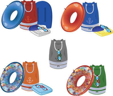Swimming tool set Illustration set