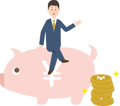Businessman and piggy bank image