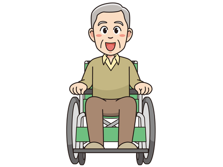 Elderly men riding a wheelchair