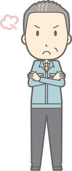 Middle-aged man work clothes - angry - whole body