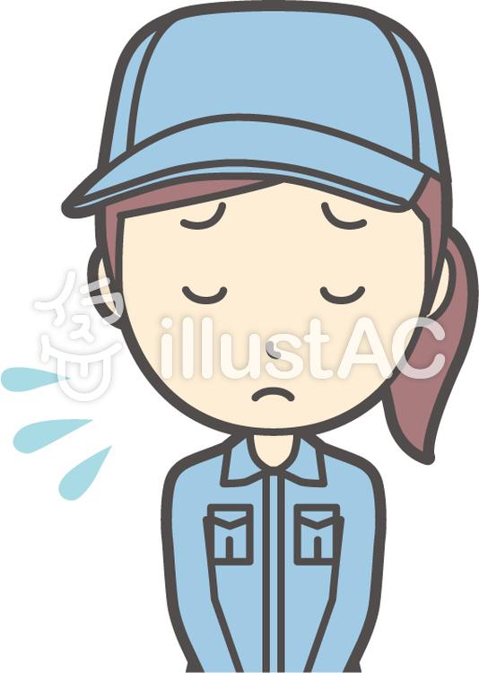 作業員女性ブルー-032-バストのイラスト