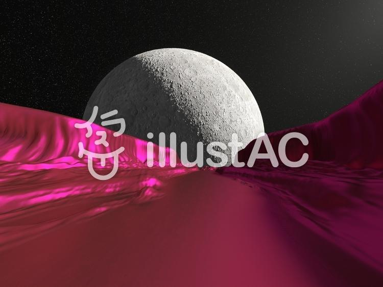 赤い星の崖谷のイラスト