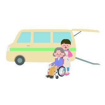 A nursing care worker trying to ride a grandmother on a wheelchair