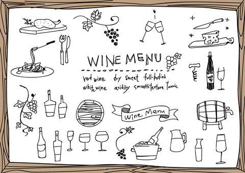 Hand-painted wine illustration set (line drawing)