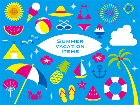 Set of summer vacation items (light blue