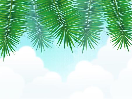 Palm leaf shade tree