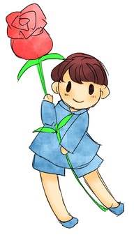 A boy with flowers 1