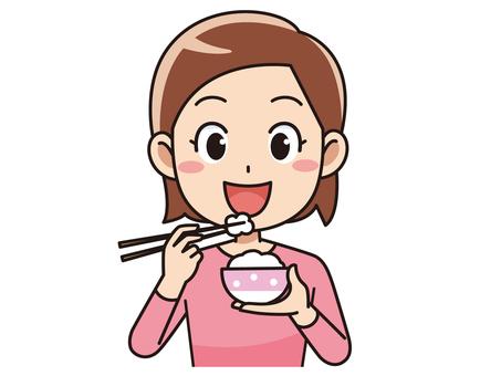 밥을 먹는 여자