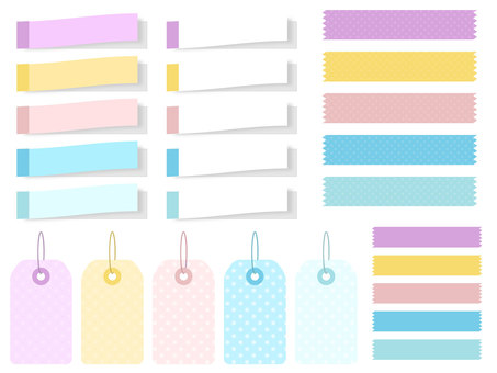 Set of sticky notes and masking tape
