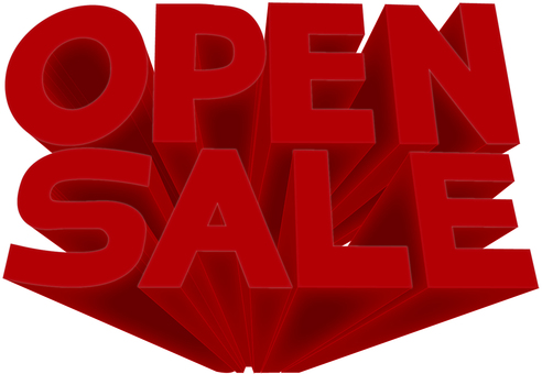OPEN SALE three-dimensional logo