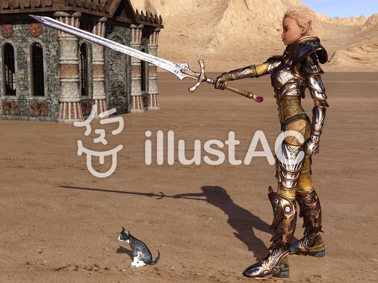 子猫と妖精戦士のイラスト