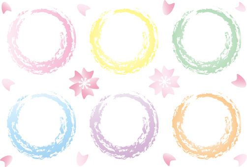 Spring color! Round set of pastel color with cherry blossoms