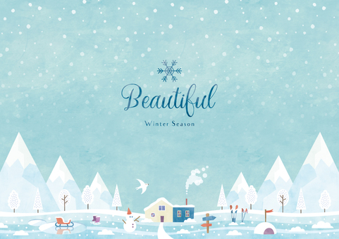 Winter background frame 038 snow scene watercolor