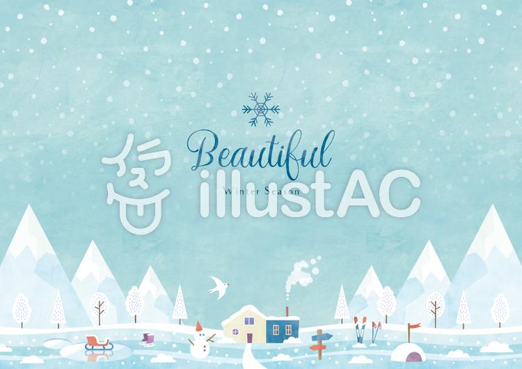 冬の背景フレーム038 雪景色 水彩のイラスト